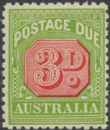Australia Postage Due SG D108 3d Carmine and Yellow Green (perf 11) (PPCG/416)